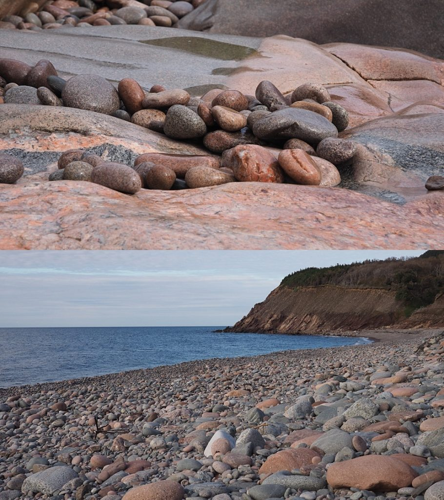 2-photo collage of rocky beaches: close-up and far vista