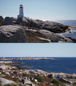 2-photo collage of Peggy's Cove Lighthouse, showing the crowds