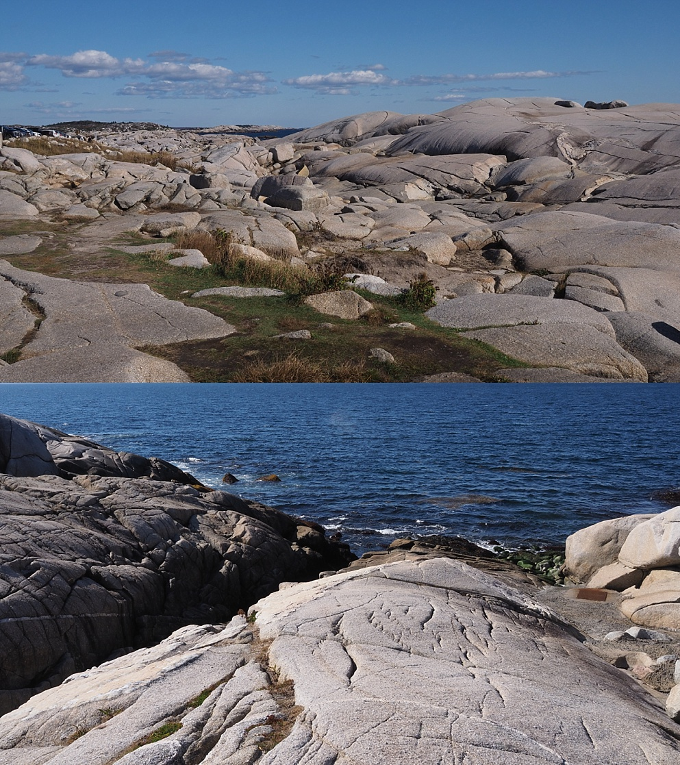 2-photo collage of rocky shoreline at Peggy's Cove