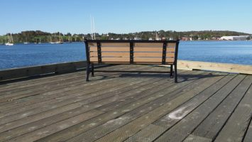 Bench screwed down into pier in Lunenberg harbour