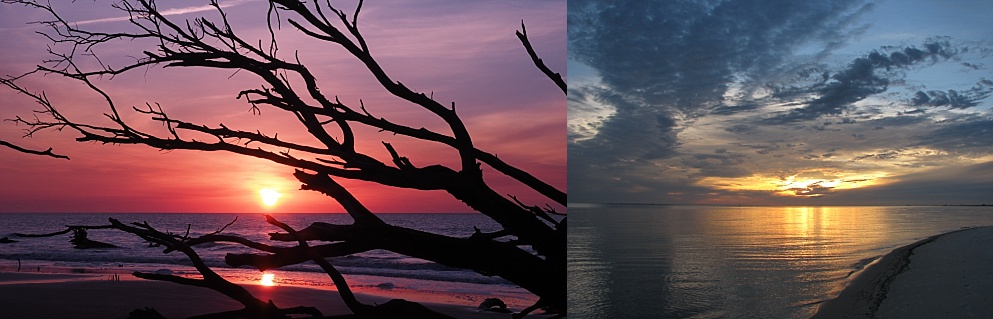 2-photo collage of sunrise and sunset