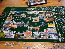Partly solved 1,000-piece puzzle