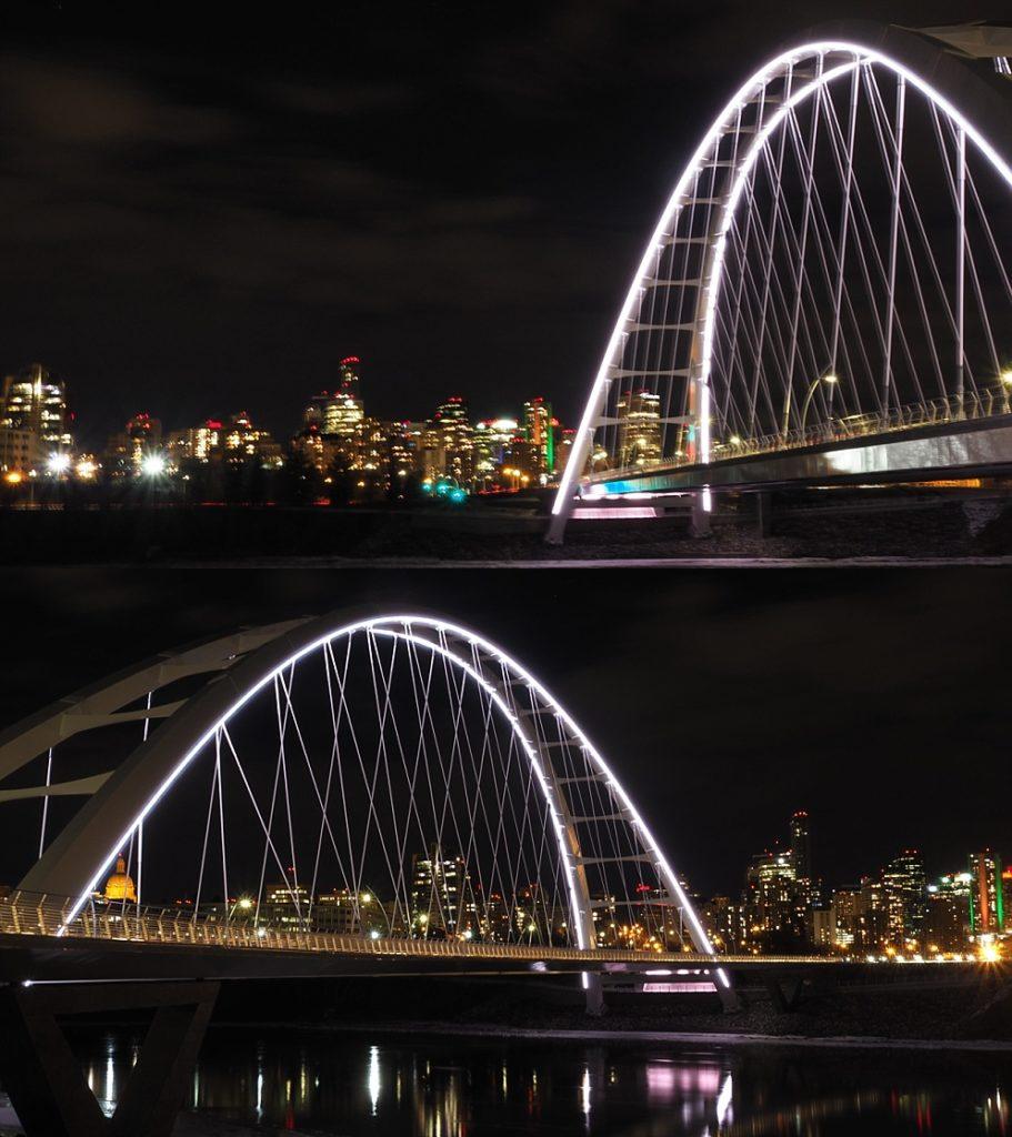 2-photo collage of Walterdale Bridge at night