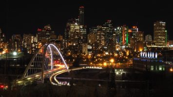 Overlooking river valley and Edmonton downtown at night