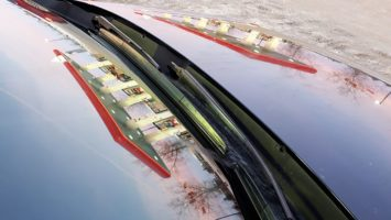 Gas stationreflection in windshield and hood