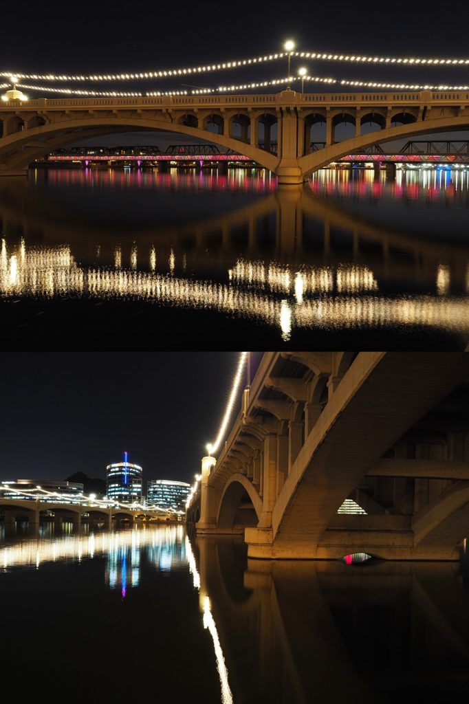 2-photo collage of Mill Avenue Bridges at night