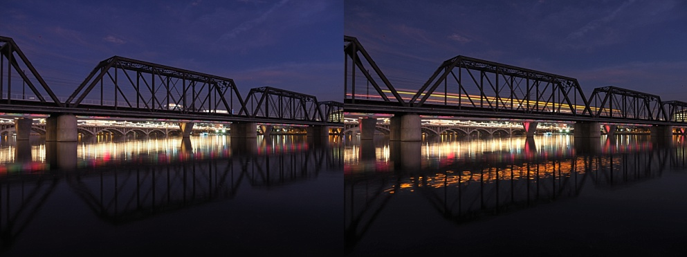 Showing the time-lapse passage of a train on bridge at night