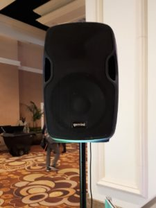 Face on stereo speaker