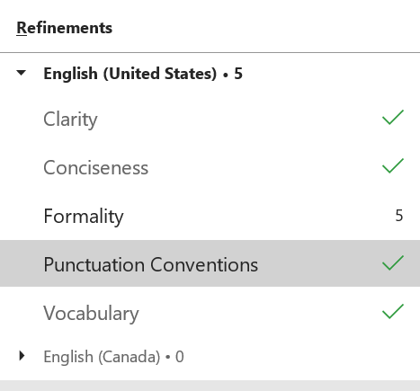 Screenshot of Word spelling and grammar review