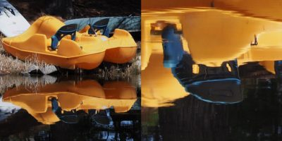 2-photo collage of paddleb-oat reflection and surprise face