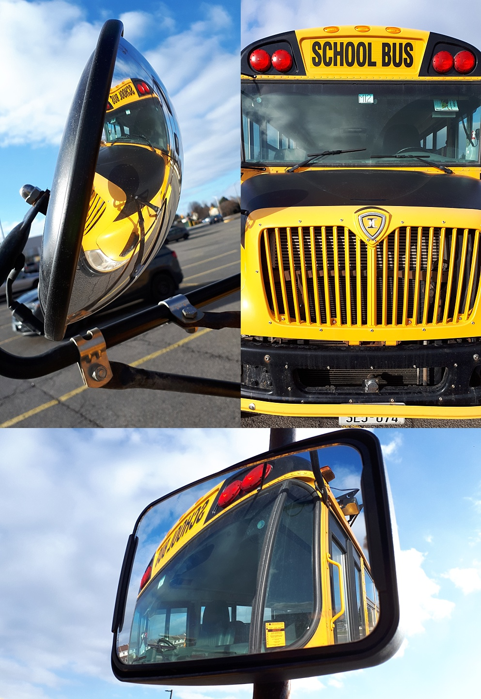 3-photo collage of schoolbus and its reflection in its own mirrors