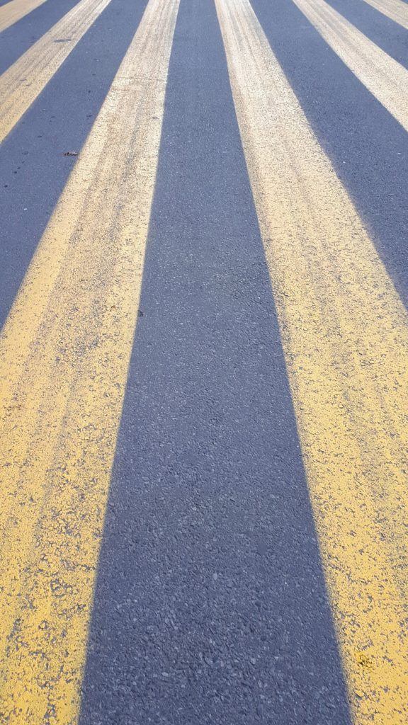 Yellow pavement markings